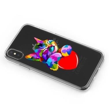 Lopard iPhone Xs Max Kılıf Silikon Arka Koruma Kapak Kalpli Kedi Desenli Renkli